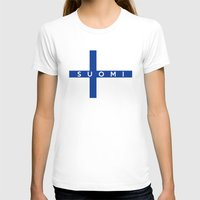 finland T-shirts featuring finland finnish country flag suomi name text by tony tudor