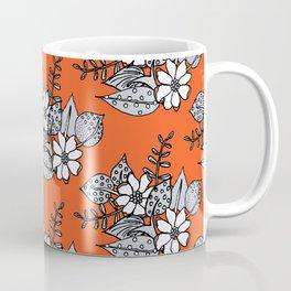 Orangey Gray Floral Coffee Mug