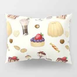Sweet pattern with various desserts. Pillow Sham