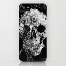 Floral Marble Skull iPhone Case