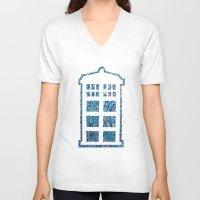 tardis V-neck T-shirts featuring Tardis by Sahara Novotny