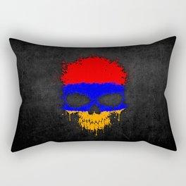 Flag of Armenia on a Chaotic Splatter Skull Rectangular Pillow