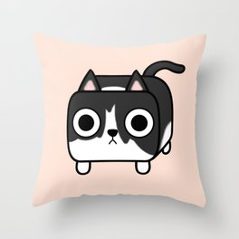 Cat Loaf - Tuxedo Kitty - Black and White Throw Pillow