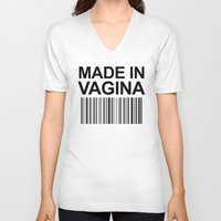 vagina V-neck T-shirts featuring MADE IN VAGINA BABY FUNNY BARCODE by CreativeAngel