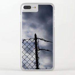 Fence broken hope blue Clear iPhone Case