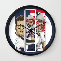 patriots Wall Clocks featuring Brady Champion Super Bowl XLIX  by Akyanyme