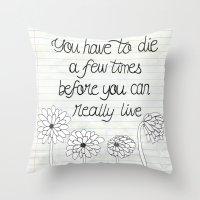 bukowski Throw Pillows featuring Bukowski by Larissa