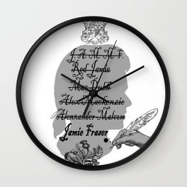All the names of Jamie Fraser (Outlander) Wall Clock