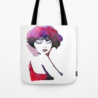 bow Tote Bags featuring Bow by Nathan Dixon Art