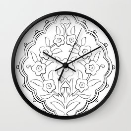Turkish Traditional Floral Pattern Drawing Wall Clock
