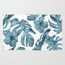 Teal Blue Tropical Palm Leaves Flowers Rug