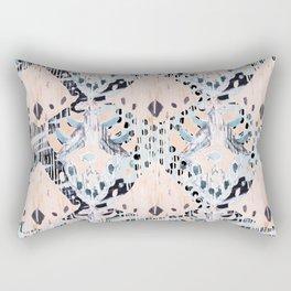 watercolor IKAT collage, mixed media, pastel pattern, pink, indigo, grey, black, sky blue Rectangular Pillow