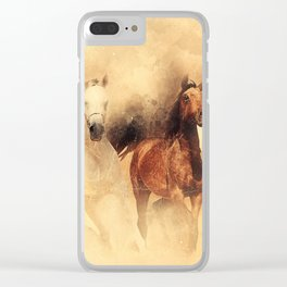 Horses Running Mammal Clear iPhone Case