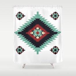 Southwest Santa Fe Geometric Tribal Indian Pattern Shower Curtain