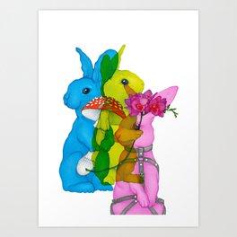Mad Rabbits on White Art Print