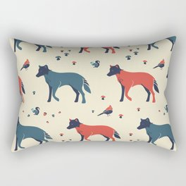 Wolf in the Woodland Rectangular Pillow