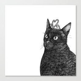 Nishi the Black Cat Wearing a Glittering Heart Tiara Canvas Print