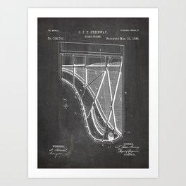 Steinway Piano Patent - Piano Player Art - Black Chalkboard Art Print
