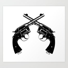 Crossed Revolvers Art Print