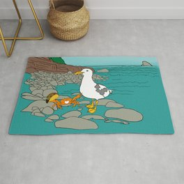 Crabarita & Gerry the Seagull from Flock of Gerrys Gerry Loves Tacos by Seasons Kaz Sparks Rug