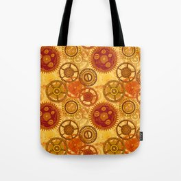 Vintage seamless pattern with gears of clockwork on aged paper background. Tote Bag