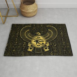 Egyptian Eye of Horus - Wadjet Gold and Black Rug