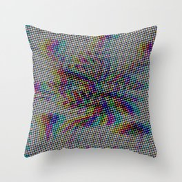 Botanical Flower Glitch II Throw Pillow