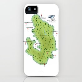 Peak District England map iPhone Case