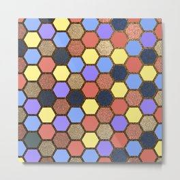 Colorful Beehive Hexagon Grid Metal Print