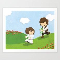 SW Kids - Han Chasing Leia Art Print