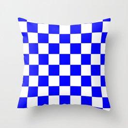 Checkered - White and Blue Throw Pillow