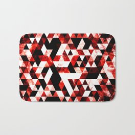 Triangle Geometric Vibrant Red Smoky Galaxy Bath Mat