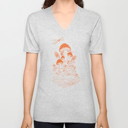 Mushroom, Frogs and Crystals with Dragofly Unisex V-Neck