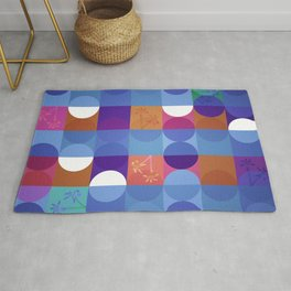 Game of circles with flowers Rug