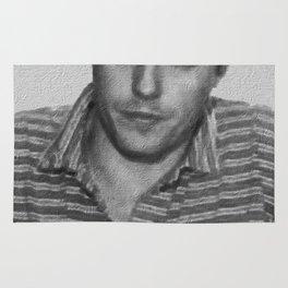Painting of Hugh Grant Mug Shot 1995 Black And White Mugshot Rug