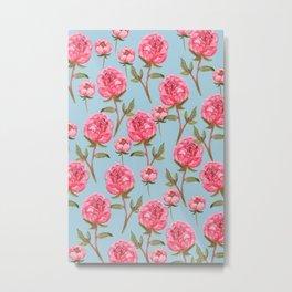 Pink Peonies On Blue Background Metal Print