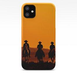 Wild West sunset - Cowboy Men horse riding at sunset Vintage west vintage illustration iPhone Case