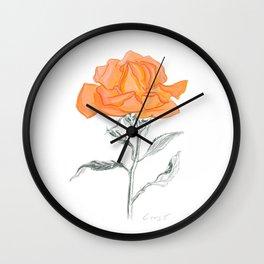 Rose 02 Botanical Flower * Yellow Orange Rose: Love, Honor, Faith, Beauty, Devotion & Wisdom Wall Clock