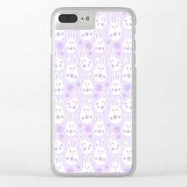 Easter Egg Bunny Pattern - Lilac Clear iPhone Case