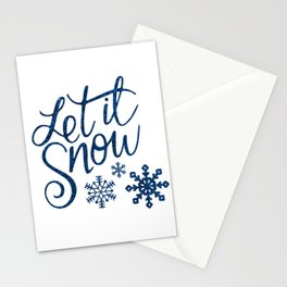 Let It Snow Blue Glitter (Color) Stationery Cards