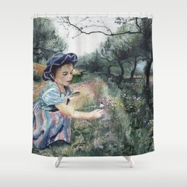 girl in the olive grove Shower Curtain
