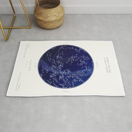 French March Star Map in Deep Navy & Black, Astronomy, Constellation, Celestial Rug