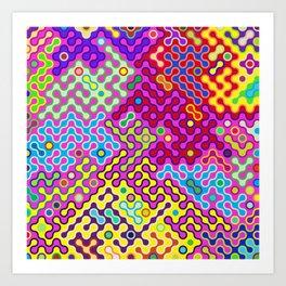 Abstract Psychedelic Pop Art Truchet Tile Pattern Art Print