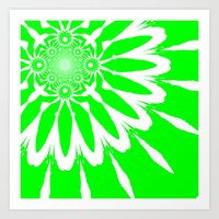 lime green Art Prints featuring Lime Green Modern Flower by 2sweet4words Designs