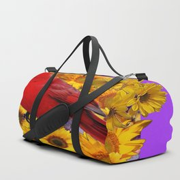 RED CARDINAL & YELLOW SUNFLOWERS PANTENE PURPLE Duffle Bag