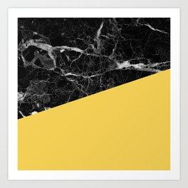 Black Marble and Primrose Yellow Color Art Print