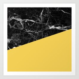 Black Marble and Primrose Yellow Color Art Print