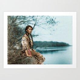 Ponemah by the Lake - Ojibwe Woman - American Indian Art Print