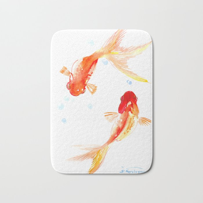 Goldfish, Two Koi Fish, Feng Shui, yoga Asian meditation design Bath Mat