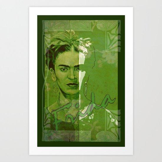 Frida Kahlo - between worlds - green Art Print